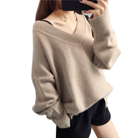 2018 New Women Knit Sweater Pullover V Neck Sexy Long Sleeve Loose Female Top Autumn Winter Clothes Solid Sweater Jumper AA269