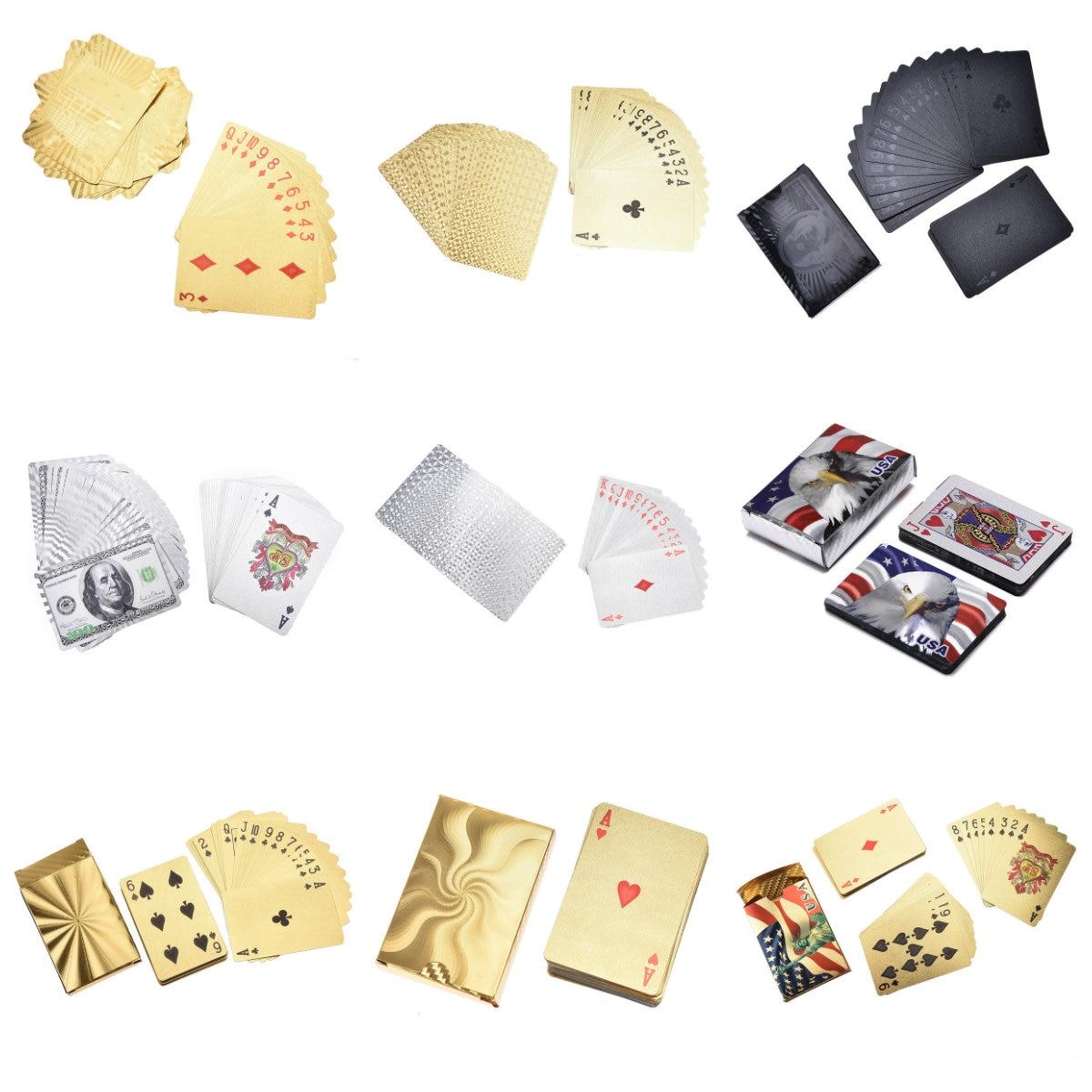Cartas de jogo de poker euro estilo dourado, prata, 10 estilos, baralho à prova dágua, jogo de tabuleiro 1 caixa