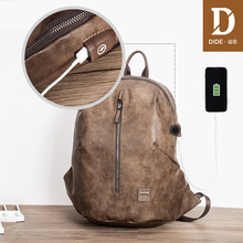 цена на DIDE USB 15 inch Backpacks For Male Vintage Leather Travel Bag Men Shoulder laptop backpack School Bag mochila hombre