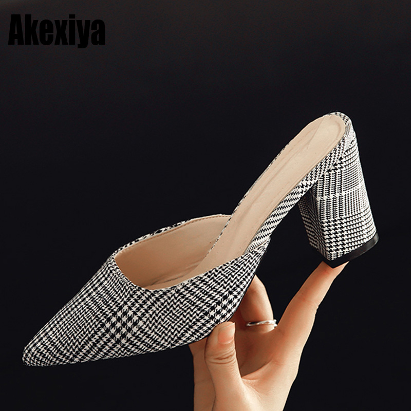 Women Pointed Toe Mule High Heel Pumps Closed Toe Slip On Slippers Fashion Stiletto Sandals Shoes