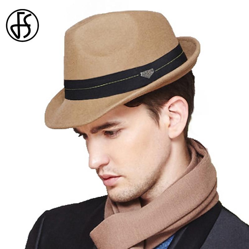 FS British Style Khaki Black Jazz <font><b>Fedora</b></font> Hat Men Women Wool Felt Hats Male Trilby Cap With Ribbon