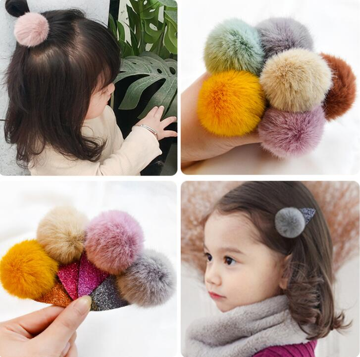 Rabbit Fur Pom pom Hair Clips Ball Hairpins for Girls Headwear Hair Accessories Hair Ropes for Women Hairgrip A87