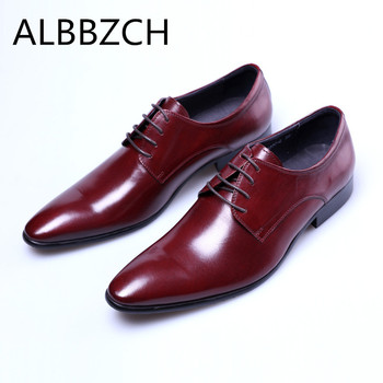 New mens genuine leather dress shoes men wedding shoes black red quality cow leather pointed toe business office work man shoes