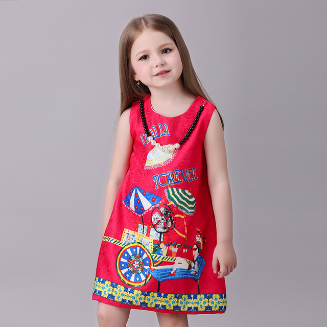 Novatx children princess dress girls clothes sleeveless kids dresses for girls new printing high-grade party dress baby clothing