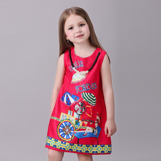 Novatx crianças vestido de princesa meninas roupas sem mangas crianças vestidos para meninas nova impressão high-grade vestido de festa roupa do bebê