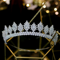 Cubic zirconia water drill bit decorated crown wedding bride headband birthday girl headdress jewelry headband
