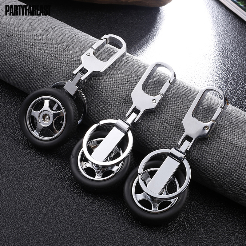 Casual Black Tyre Key Chains Creative Cool Resin Zinc Alloy Keychain for Dad Boyfriend Birthday