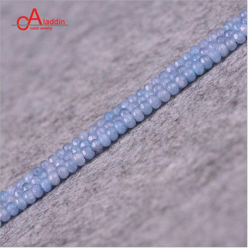 Aladdin Brand Nature Crystal Stone blue Faceted Beads Aquamarin Loose Beads 2*4mm for women Jewelry DIY Making Necklace Gift