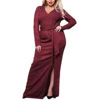 5xl 6xl Plus Size Woman Bling Party Dress Large Big Size Fiminino Shinning Vestidos Elegant 2018 Fashion V neck Split Clothing