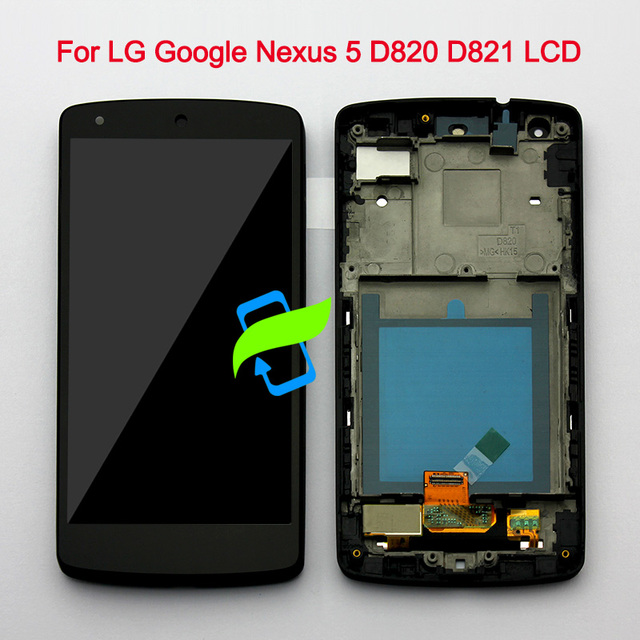 "4.95"" Original Display For LG Google Nexus 5 LCD with Touch Screen Digitizer Assembly with Frame For LG Nexus 5 LCD D821 D820"
