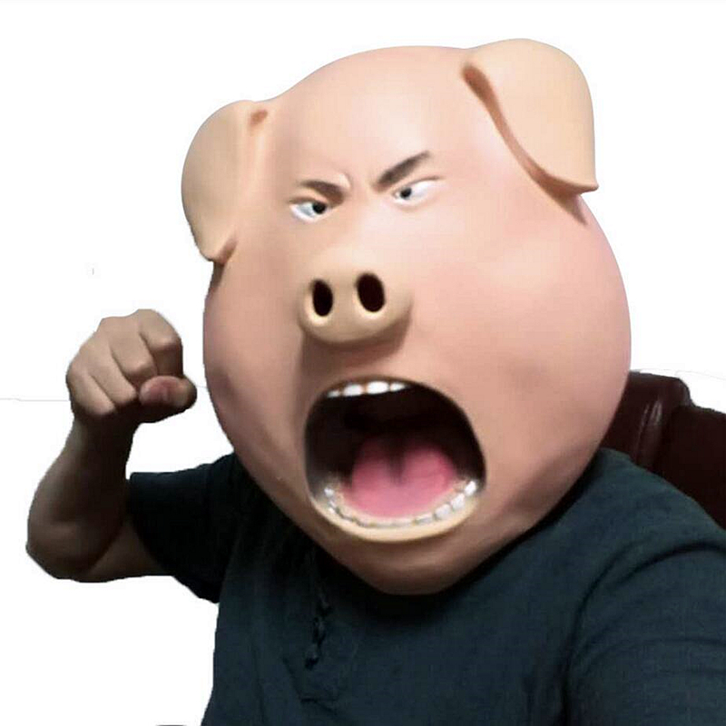 Angry Pig Mask Hood Overhead Prank Latex Rubber Indignant Prank Party Halloween Pig Head song animal masks maske costume film image