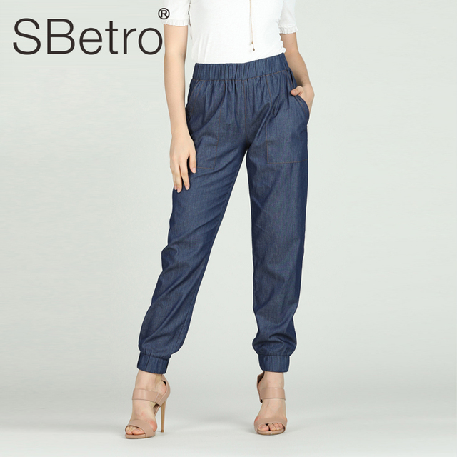 SBetro Women Casual Jogger Pants Female Mid Waist Solid Denim Trousers Pencil Jeans Summer Spring Drop Shipping