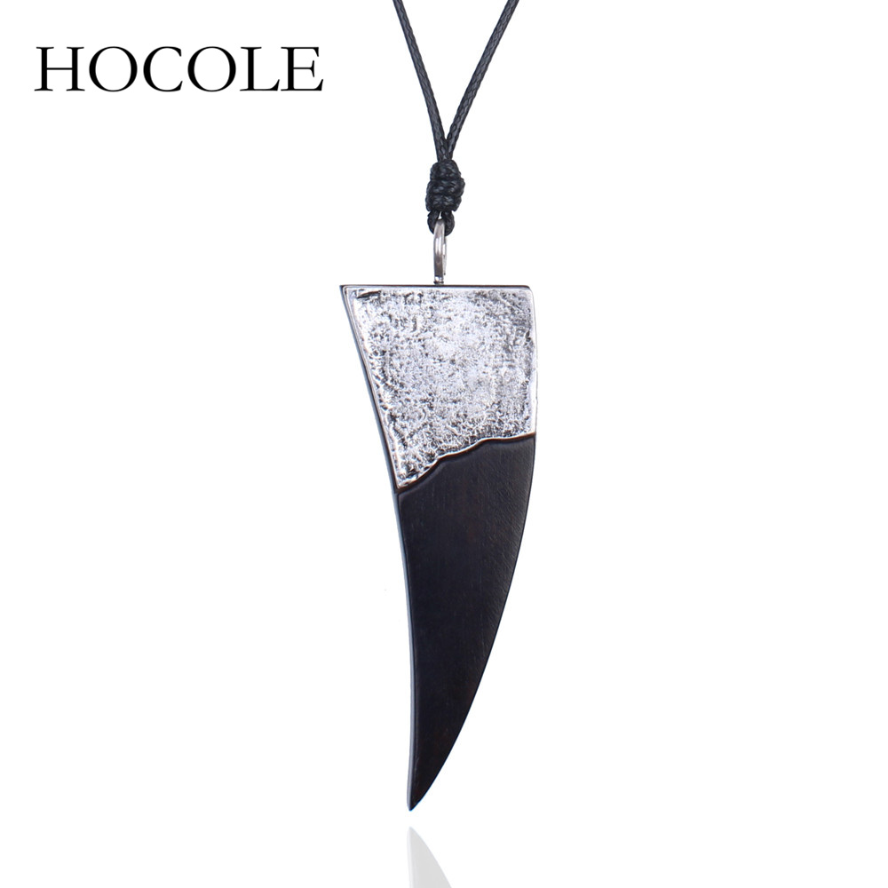 HOCOLE Unique Punk Simple Design Jewelry Long Geometric Charm Wood Pendant Necklaces Maxi Collier Women Men Sweater Chain Gift
