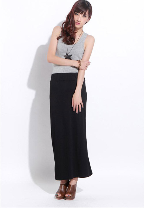 Online Shop SK83 Celebrity Style Women Pencil Fit Black Tube Maxi ...