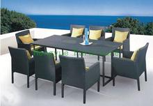 Patio rattan dining set with cushion and glass,wicker dining table and chairs