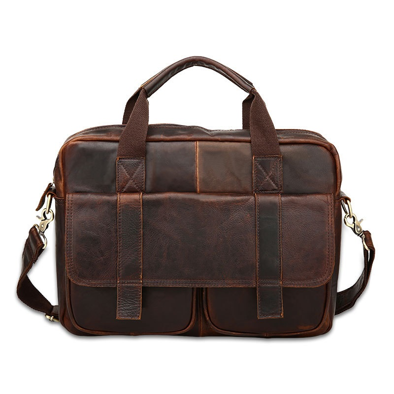 Genuine leather Briefcase Laptop Handbag Men's Business Crossbody Bag Messenger Shoulder Bags Vintage Coffee qibolu handbag men bag briefcase business travel laptop messenger crossbody shoulder bag sacoche homme bolsa masculina mba17