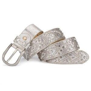Image 5 - Rivet Vintage Luxury Designer Punk Set Auger Belts Women High Quality Female Genuine Real Leather Waist Handmade Strap for Jeans