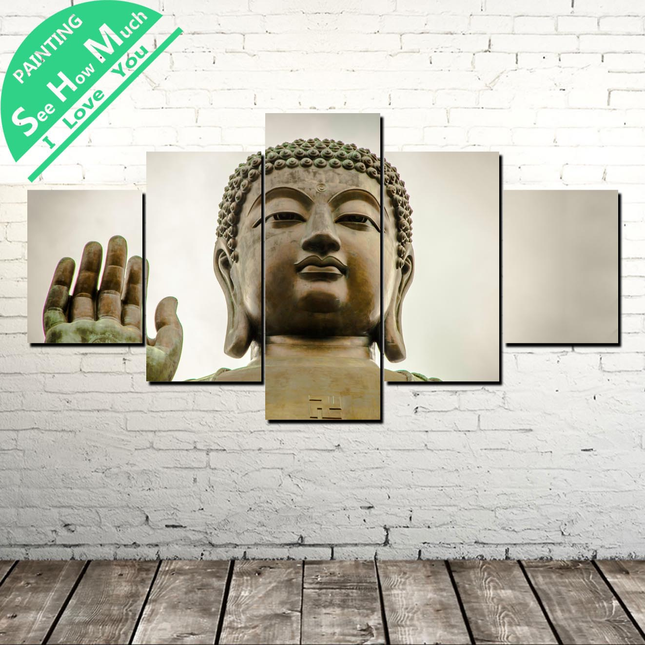 5 Piece Buddha Sculpture Wall Art Canvas Poster and Print Canvas Painting Decorative Picture for Living Room Canvas Painting in Painting Calligraphy from Home Garden