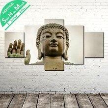 дешево!  5 Шт. Скульптура Будды Wall Art Холст Плакат и Печать Холст Картины Декоративные Картины для  Лучший!