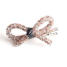 Vintage Hollow Out Bowknot Hair Clips Full Glitter Rhinestone Ladies Alligator Hairpins Faux Leather Knotted Ponytail Barrettes