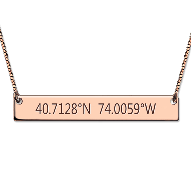 Rose Gold Color Engraved Coordinates Bar Necklace GPS Coordinates Jewelry Bar Pendant for Her determination of gps coordinates transformation parameters