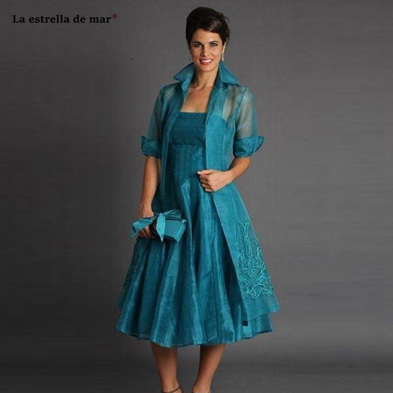Mère de la mariée robes pour les mariages 2019 nouvelle organza brodé à manches longues à manches longues sarcelle vert mère de la mariée thé