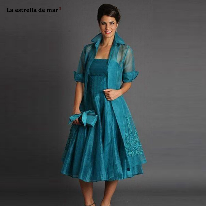 Wedding Guest Gown New Organza Embroidered Long Sleeve ALine2 Pieces Peacock Blue Mother Of The Bride Tea Length Dinner Dress