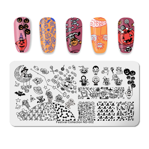 Image 4 - NICOLE DIARY Christmas Halloween Nail Art Stamping Plate Snow Ghost Image Printing Template Festival New Year Nail Stamp Stencil