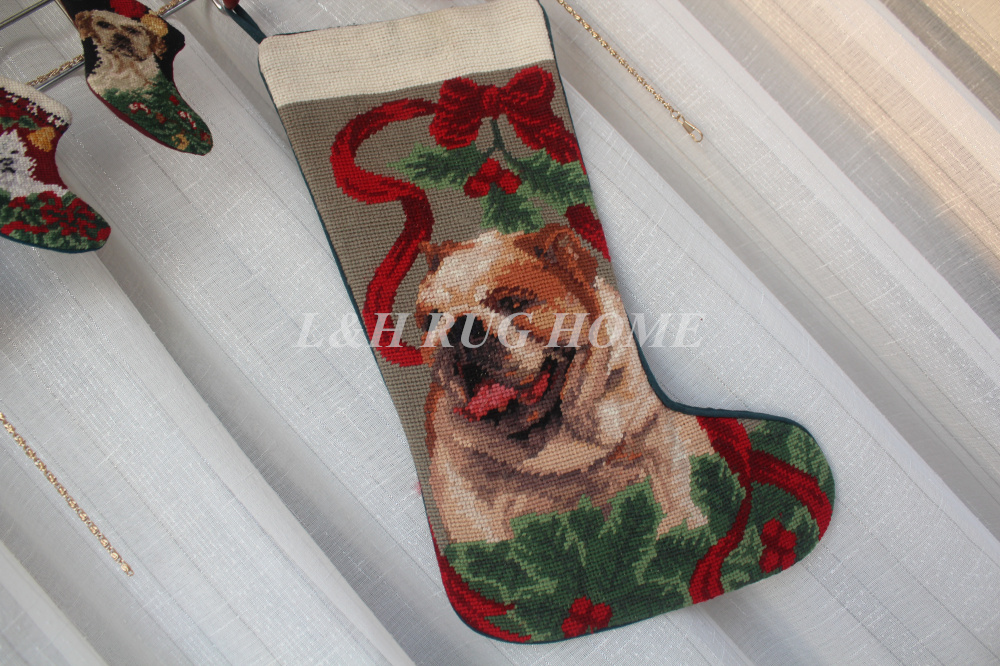 Vintage Needlepoint Christmas Stockings.Us 39 0 Free Shipping Christmas Needlepoint Vintage Hand Knotted Christmas Stocking Sock Cute Dogs Design Stocking Socks 28x43cm In Carpet From Home