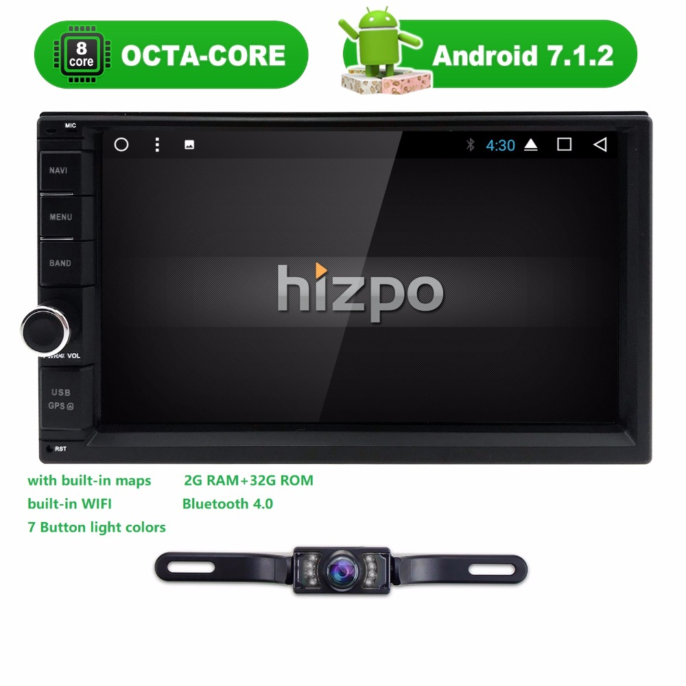 2 Din 7 Inch Android 7.1 Universal Car NO DVD Player Octa Core Bluetooth Car Radio GPS Navigation 4GWIFI Subwoofer Stereo CAM BT