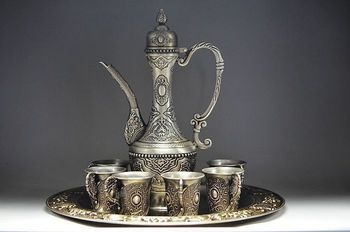 Decoration crafts art  Scarce Ancient Europe Gilt silver Set Wine appliances Jug & Cup & Tray 1 Wine Pot 6 Cup Tibet Miao Silver