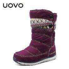 2017 uovo модный бренд Обувь для девочек зимние сапоги ноги длинные Детские Снегоступы мягкий теплый детей Обувь EU27-37 принцессы Botas Chaussure