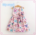 Retail 2016 New Summer cartoons graffiti big high quality next  baby girl Birthday party dress