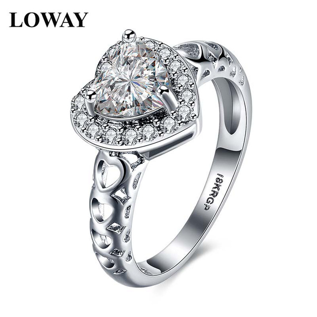 LOWAY Lovely Hollow Heart Ring With CZ Rings Braided Anillos white