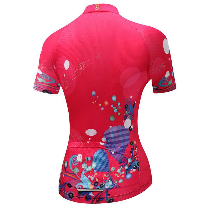 Для женщин Велоспорт Джерси Лето короткий рукав для верховой езды Велосипедный спорт велосипедная форма красный принт спортивные майки по