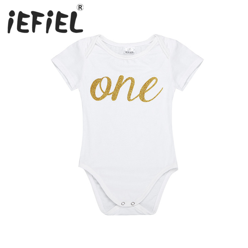 iEFiEL Unisex Infant Baby Boys Girls Short Sleeves Letter ONE First Birthday Party Romper Jumpsuit Newborn Clothes Size 12-24M