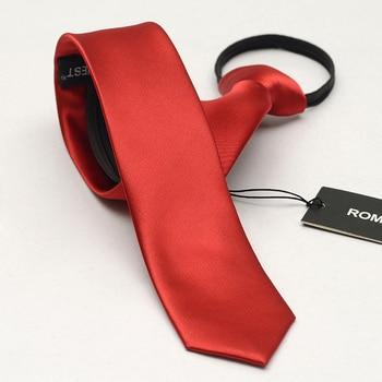 New Zipper Tie 5cm Lazy Necktie Easy To Pull Men's Solid Red Skinny Wedding Neckties Slim Casual Cravate Gravatas with Gift Box