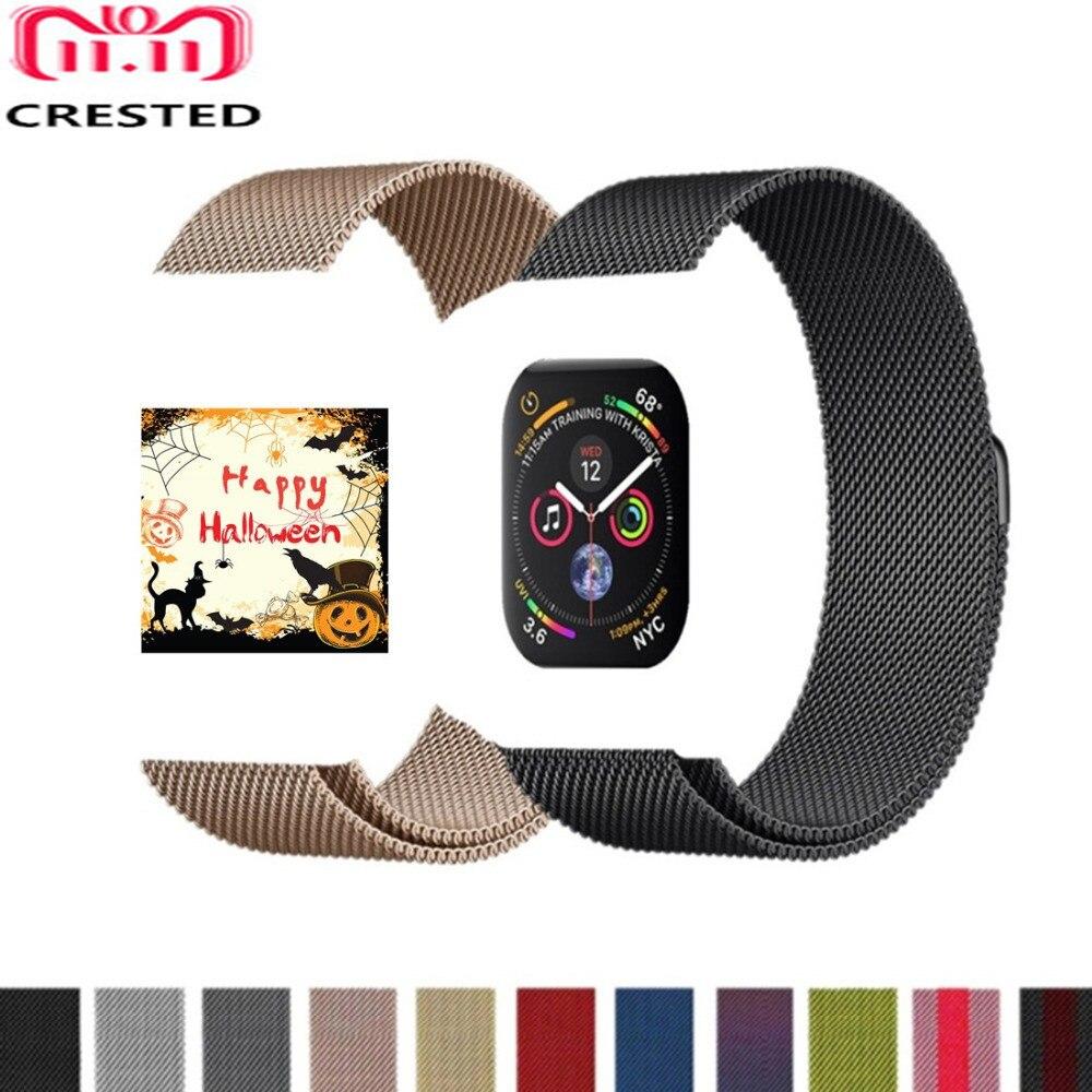 CRESTED Milanese Schleife Für Apple Uhr band serie 4 44mm/40mm strap iwatch 3 2 1 42 mm/38mm Edelstahl handgelenk Armband gürtel