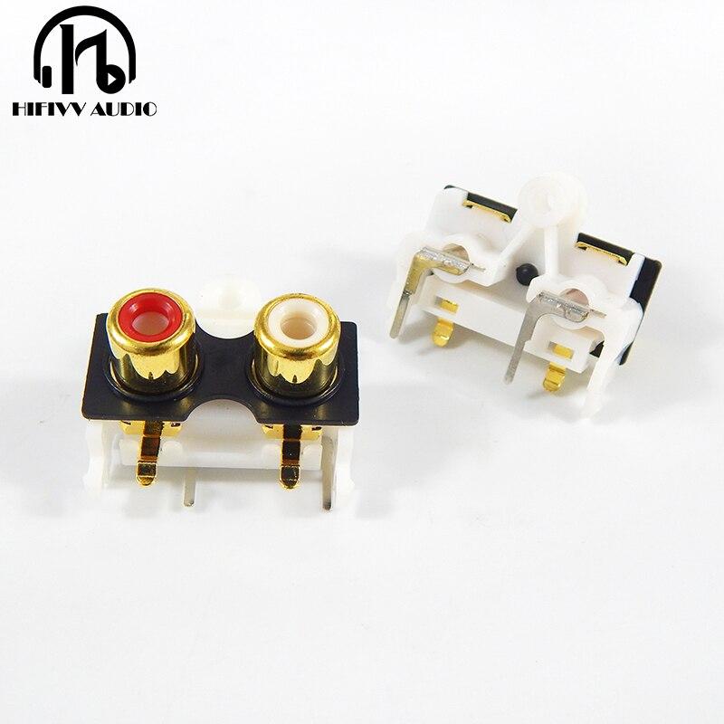 AV2-8.4-10 Gold Plating RCA Socket 90 Degree Welding PCB For Signal Output Connector
