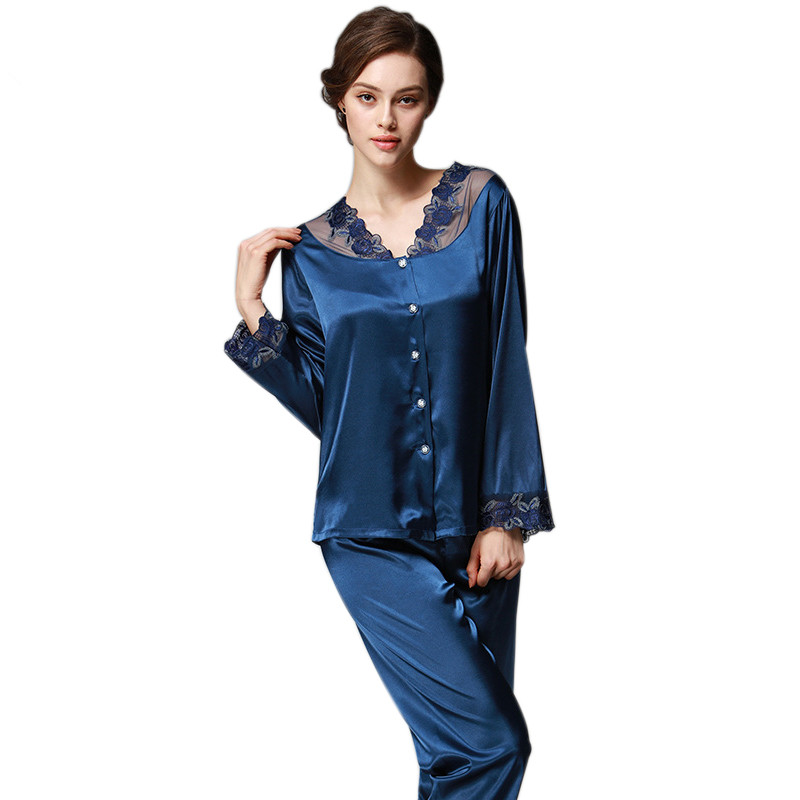 Womens Silk   Pajamas     Sets   Spring Summer Autumn Female Lace Embroidered Satin Pyjamas Long Sleeve Sleepwear Loungewear