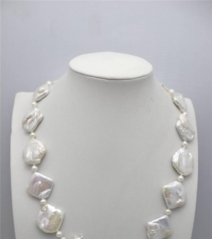 ">@@@@@ White box Freshwater pearl Necklace 21""Strand/String""Handmade""Alloy a -Top quality free shipping"