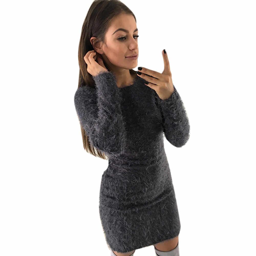 Платье женское сексуальное платье для девушек зимнее с длинным рукавом Однотонный свитер флисовое теплое базовое Короткое мини-платье