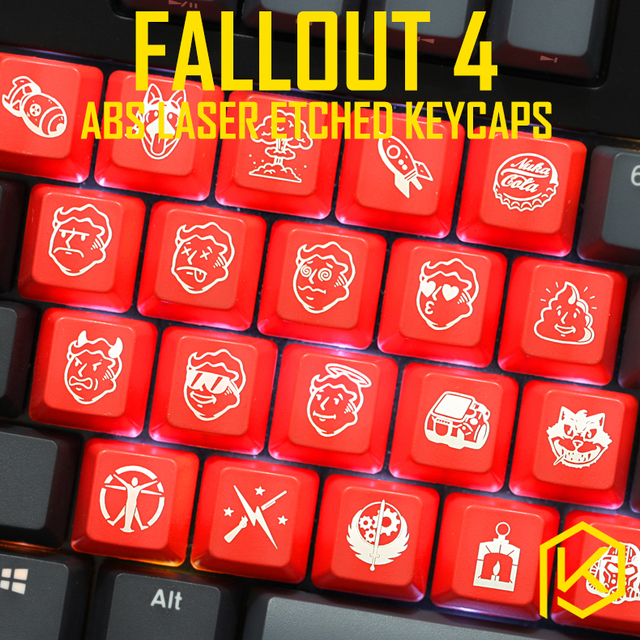 US $1 5 |Novelty Shine Through Keycaps ABS Etched, Shine Through fallout 4  pip boy nuca cola black red for custom mechanical keyboards-in Keyboards