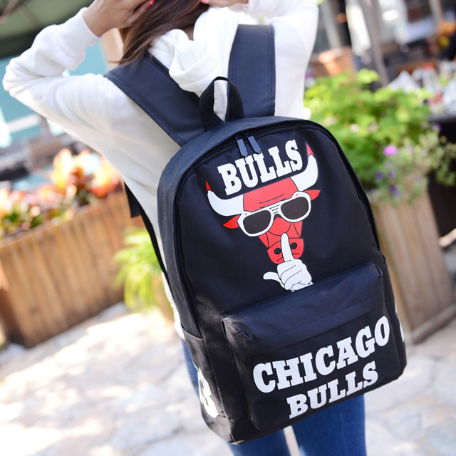 a028da4c63 2018 Harajuku Fashion Chicago Bulls Backpack Women Casual Laptop Rucksack  Letter Print School bag for Teenagers Backpacks