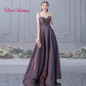 New Arrival 2019 Sexy Spaghetti Straps Shiny Long Evening Dresses Custom made A Line Formal Dress Evening Party Gown