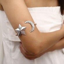 OLOEY Retro Arm Bracelet Women Bohemian Punk Armband Bangle Jewelry Female Open Star Moon Shape Upper Bracelets Gifts