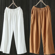 2018 New Style Womens Pants Linen And Cotton Cargo Casual Soft Trousers Summer Joggers Slacks Wide