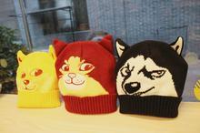Shiba Inu Doge animal anime cartoon creative toy Huskie Husky /Cat humor gift kawai drama boy children unisex knitted cap