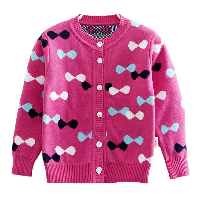 Sweet Bow Print Children Girls Knitted Cardigan Sweater 2016 Spring Autumn Long Sleeve Fashion Grey Pink Red 2-7 Y Sweaters Coat