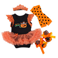 Fashion Baby Girl Clothing Set Bodysuit jumpsuit 4pcs Set Cotton Lace Tutu Dress Headband Infant 1st Halloween Clothing Suit